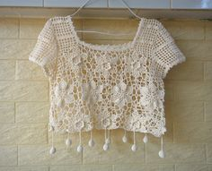 Boho Short Sleeve Crochet Floral Lace Blouse by Tops A Crochet, Crochet Shirt, Crochet Crop Top, Crochet Cardigan, Love Crochet, Crochet Motif, Irish Crochet, Crochet Designs, Crochet Doilies