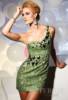 Terani Couture 2012 Green Short Prom Dress 751 | Promgirl.net