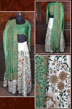 SW 4038 - #Organic hand embroidered white #lehenga with green #blouse & green #dupatta.  #Bhusattva - True Essence of Earth (http://www.store.bhusattva.com)