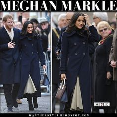 Meghan Markle in blue navy coat, beige skirt and black suede boots with Prince Harry