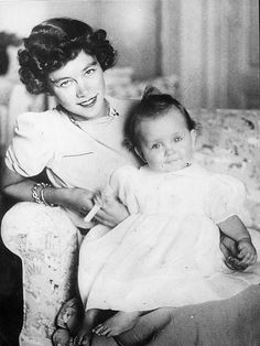 A delightful portrait of Princess (later Queen) Frederica of Greece (nee of Hanover) with her 1st child, Princess Sophia, now Queen of Spain.