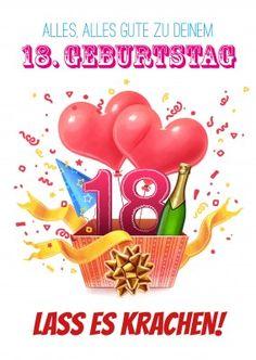 18. Geburtstag: Bunte Glückwunsch Grafik Mit Herzen, Sekt Und Luftschlangen