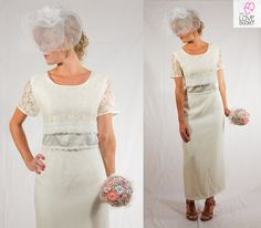 Vintage Wedding Dress with Satin and Lace by TheLoveBucketSA, $70.00
