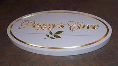 V-carved High Density Urethane.  Hand painted and gold leafed by Created by Jackie Shields, www.saugeensignworks.com Painted Wood Signs, Hand Painted, Painting On Wood, Carving, Create, Gold, Decor, Joinery, Decorating