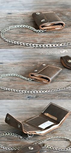 """Personalized Mens Trifold Chain Wallet. We've added a closure flap and a 24"""" chain to give it that rugged, blue collar feel. Pick either a Silver chain or an Antique Gold chain. The above pictures are the silver accessories."""