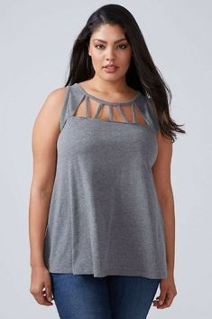 84cf7eacd75 Lane Bryant cut out tank is gorgeous. The comfort of a full coverage tank  and the cutouts at the top give it style and pizzazz.
