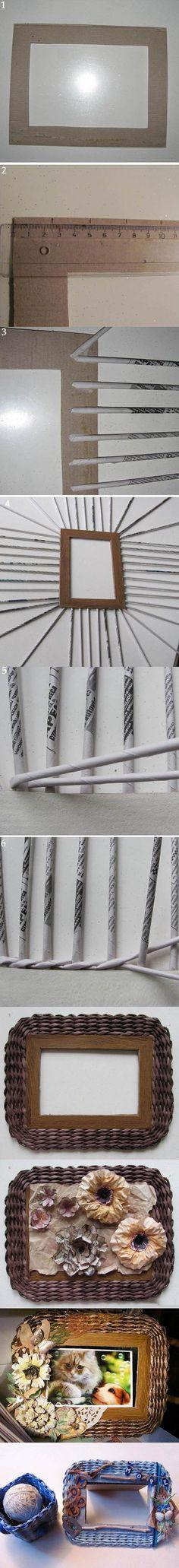 DIY Marco Hermoso Tejido Papel fotográfico 2