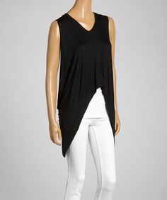 Love this Black Crisscross Back Sleeveless Hi-Low Top by SEASUNS on #zulily! #zulilyfinds