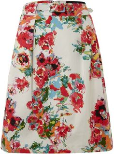 9802bffabccf ADRIANNA PAPELL - Multicolor Printed Pleat Skirt With Belt Adrianna Papell
