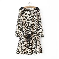 Round Neck Leopard Print Seventh Sleeve Dress With Belt