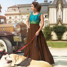 Buy Blue - Brown Bhagalpuri Silk Designer Suit for womens online India, Best Prices, Reviews - Peachmode