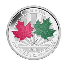 Fine Silver One Kilogram Coin - Maple Leaf Forever | Two leaves selectively enamelled by hand in red and green to reflect the changing beauty of the Maple Leaf through the seasons