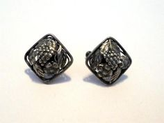 Vintage Estate STERLING Grapes & Flowers Repousse Square Screwback Earrings