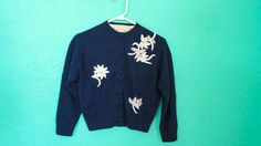 Vintage Navy Blue Beaded Cropped Cardigan by Meier by AdoredAnew
