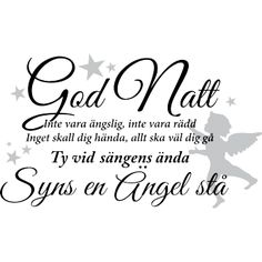 Väggord God Natt, Inte vara ängslig, inte vara rädd.