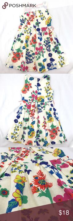 Mini Boden Girl 4-5 Floral Print Dress Linen Blend Mini Boden girl's multi-color floral print sleeveless dress * 4-5Y * 55% linen, 45% cotton * Gently used with no flaws found. Two red thread belt loops (one on each side), no belt included Mini Boden Dresses Casual