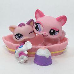 Littlest Pet Shop LPS Pink Mommy 1313 Baby 1481 Kitten Kitty Cat Lot of 2 | eBay