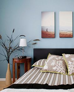 Love this idea! Get canvas prints of your favorite vacation photos and display them above your bed for personalized bedroom art - maybe from Italy Bedroom Art Above Bed, Bedroom Decor, Beach House Bedroom, Bedroom Retreat, Dream Bedroom, Master Bedroom, Blue Grey Walls, Love Your Home, Trendy Bedroom