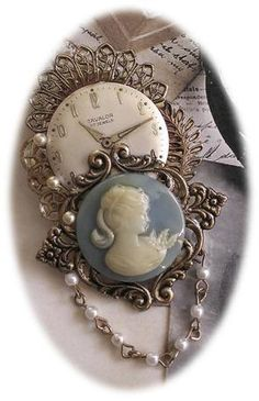 Cameo and Watch Gear Brooch by FromABygoneTime on Etsy