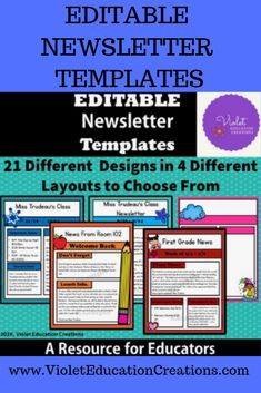Editable Newsletter Templates: 21 Designs available in 4 different layouts. Great value for your classroom, daycare, and homeschool collaborative classrooms. Editable Calendars, Class Newsletter, Newsletter Design Templates, Table Of Contents Page, Content Page, Teacher Notes, Important Dates, Cover Pages, Social Skills