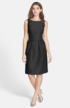 Free shipping and returns on Alfred Sung Boatneck Sheath Dress at Nordstrom.com. A silky dupioni weave with subtle polish tailors a classic sheath defined by a wide, inset waistband that leads to a sweet bow anchoring an open back.