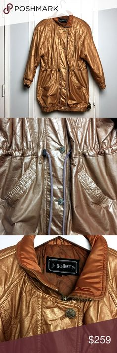 VINTAGE 80s Bronze Leather Bomber coat sz M VINTAGE 80s Bronze Leather Bomber coat sz M Brand: J. Gallery  Made in:  Korea  Size: M Fit: Midi Oversized Shoulder: 21 Chest:36 Waist: 32 ( Drawstring ) Hips: 36 Length: 38 Materials: Leather Color: Bronze Condition : Excellent #CoxyCloset #vintage #eighties #80s #outwear #coat #Bomber #leather #bronze #fall #winter Vintage Jackets & Coats Utility Jackets