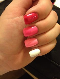 Pink ombré nails...I might be a little late on this trend but, I love it! Grays are next!