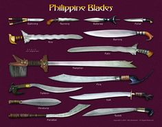 Filipino weapons for kali escrima Filipino Art, Filipino Culture, Filipino Tribal, Filipino Tattoos, Swords And Daggers, Knives And Swords, Cultura Filipina, Kali Martial Art, Kali Escrima