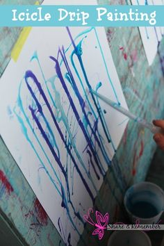Icicle Drip Painting #winter crafts for kids