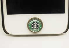 1PC Retro Epoxy Starbucks Coffee Transparent Time Gems Alloy  Cell Phone Home Button Sticker Charm for iPhone 4s,4g,5,5c Gift for Him