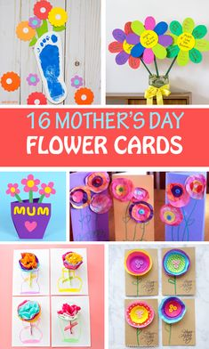 Mother's Day flower cards for kids to make for Mom and Grandma. Footprint flower card, cupcake liner flower card, tissue paper flower card, handprint flowerpot card and more. #MothersDay #flowers