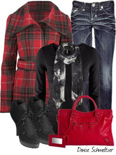 """""""Red Plaid Jacket"""" by denise-schmeltzer on Polyvore"""