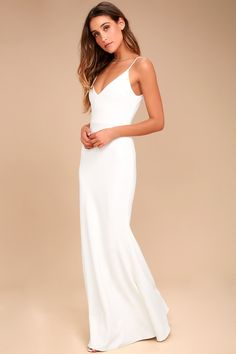 You'll be a thing of beauty and a joy forever in the Infinite Glory White Maxi Dress! Stretch knit maxi dress with a bodycon fit and mermaid hem. Yellow Maxi Dress, White Maxi Dresses, White Wedding Dresses, Bridal Dresses, Casual Dresses, Formal Dresses, Lace Wedding, Reception Dresses, Wedding Reception