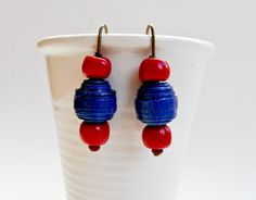 Earrings - Blue Paper / Red Clay Beads Clay Beads, Christmas Ornaments, Holiday Decor, Paper, Earrings, Red, Blue, Ear Rings, Stud Earrings
