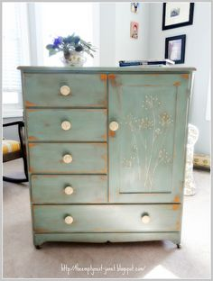 Annie Sloan Coco and Duck Egg Blue with queen anne's lace detail on a 1960's maple Salvation Army wardrobe..SOLD!