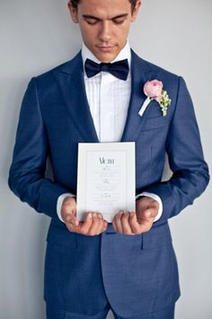 navy suit pink buttonhole brides of adelaide magazine