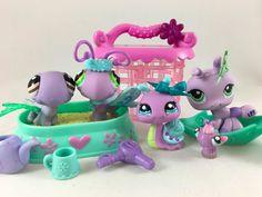 Littlest Pet Shop Lot of 4 Purple Pets #478 #1125 #2353 #1308 w/Accessories #Hasbro