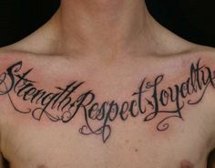 What does loyalty tattoo mean? We have loyalty tattoo ideas, designs, symbolism and we explain the meaning behind the tattoo. Chest Tattoo Quotes, Tattoo Quotes For Men, Tattoo Quotes About Strength, Meaningful Tattoo Quotes, Tattoo Quotes About Life, Strength Tattoos, Life Quotes, Chest Tattoo Writing, Chest Tattoo Words
