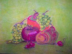 Bildtitel: Die Obstschüssel Technik: Pastellkreide Größe :    30 x 40 cm
