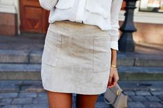 Cute suede skirt.
