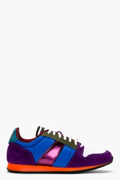 AMI Purple Suede & Multi Textile Low Top Sneakers