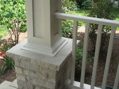 Image Detail for - . building or renovating a porch? From stone columns to renovating to (front porch stairs home plans) Front Porch Pillars, Front Porch Stairs, Porch Columns, Porch Steps, Wood Columns, Stone Columns, Porch Upgrades, Veranda Railing, Moulding And Millwork