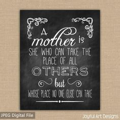 ... . Mother Quote. Gift for Mom Chalkboard Sign. Jpeg DIGITAL file