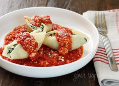 Spinach Stuffed Shells with Meat Sauce ~ healthy version