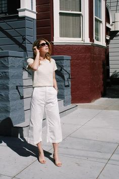 Ava Cropped Pant in White by @esby Via Belvele #sustainable #madeinusa