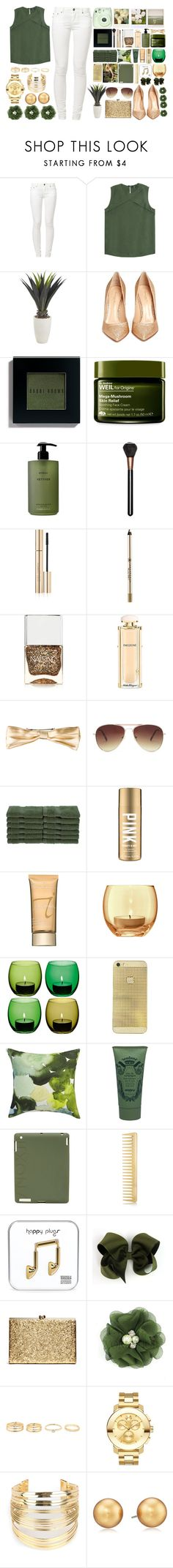 """""""Green and Gold"""" by pretima ❤ liked on Polyvore featuring Best Mountain, Raoul, Pier 1 Imports, Polaroid, Gianvito Rossi, Bobbi Brown Cosmetics, Origins, Byredo, MAC Cosmetics and Dolce&Gabbana"""