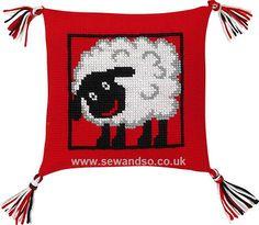 Sheep Pillow Front Cross Stitch Kit