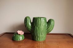 Vintage Ceramic Cactus Cookie Jar with by MicroscopeTelescope