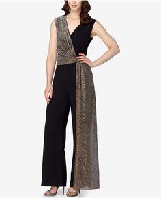 Tahari Asl Metallic Draped Jumpsuit In Black/gold Stylish Dress Designs, Stylish Dresses, Elegant Dresses, Chic Outfits, Dress Outfits, Fashion Dresses, Designer Jumpsuits, Designer Dresses, Jumpsuit Dressy