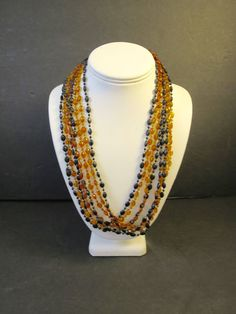 Vintage Topaz and Black Bead Necklace Lucite Plastic Beads 42 inches Long 1960's 4 Strand Necklace Bohemian Style Lightweight Rope Necklace by BonniesVintageAttic on Etsy